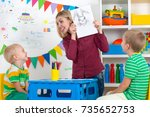 children with mom and draw... | Shutterstock . vector #735652753