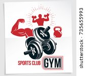 gym advertising poster. vector... | Shutterstock .eps vector #735655993