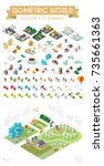 set of isometric high quality... | Shutterstock .eps vector #735661363