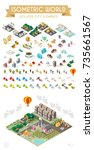 set of isometric high quality... | Shutterstock .eps vector #735661567