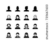 people and avatar icon set | Shutterstock .eps vector #735667603
