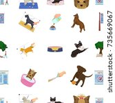 walking with a dog  a vet... | Shutterstock .eps vector #735669067