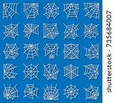 spider web thin line icon set.... | Shutterstock .eps vector #735684007