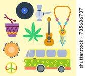 rastafarian cannabis peace... | Shutterstock .eps vector #735686737