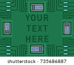 computer ic chip template... | Shutterstock .eps vector #735686887