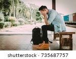 depressed asian traveler man...   Shutterstock . vector #735687757