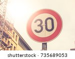 number 30 traffic limit sign in ... | Shutterstock . vector #735689053