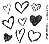 set of six handdrawn heart.... | Shutterstock .eps vector #735691447