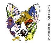 hand drawn doodle outline dog...   Shutterstock .eps vector #735692743