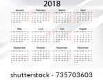 calendar for 2018 on white... | Shutterstock .eps vector #735703603