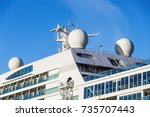 cruise ship deck house with... | Shutterstock . vector #735707443