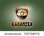 golden emblem or badge with... | Shutterstock .eps vector #735708973