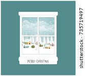 christmas card with window and... | Shutterstock .eps vector #735719497