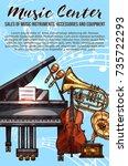 musical instrument sketch... | Shutterstock .eps vector #735722293