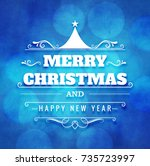 abstract merry christmas blue... | Shutterstock .eps vector #735723997