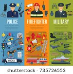 police  firefighter and... | Shutterstock .eps vector #735726553