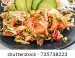 fresh salmon raw spicy salad  ... | Shutterstock . vector #735738223