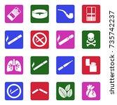 smoking icons. white flat... | Shutterstock .eps vector #735742237