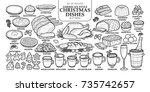 set of isolated traditional... | Shutterstock .eps vector #735742657