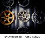 close up of rim  new car alloy... | Shutterstock . vector #735746527