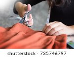 hands notch tailor tailor's... | Shutterstock . vector #735746797