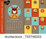 colorful 2018 calendar... | Shutterstock .eps vector #735748333