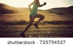 young fitness woman runner... | Shutterstock . vector #735754537