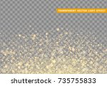 glowing lights golden glitter.... | Shutterstock .eps vector #735755833