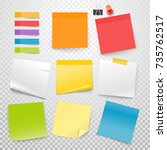 different color paper stickers... | Shutterstock .eps vector #735762517