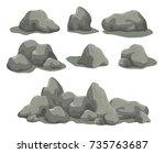 set of rock stones different... | Shutterstock .eps vector #735763687