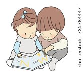 vector illustration of two... | Shutterstock .eps vector #735784447