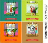 vector set of cleaning posters  ... | Shutterstock .eps vector #735798817