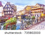 traditional half timbered... | Shutterstock . vector #735802033