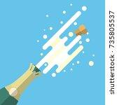 champagne popping flat vector...   Shutterstock .eps vector #735805537