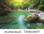 lake and pond in forest. nature ... | Shutterstock . vector #735810457