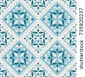 abstract azulejo tiles ... | Shutterstock .eps vector #735820237