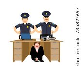 businessman scared under table... | Shutterstock .eps vector #735822697