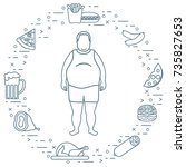 fat man with unhealthy... | Shutterstock .eps vector #735827653
