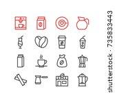 vector illustration of 16 drink ... | Shutterstock .eps vector #735833443
