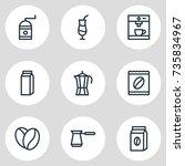 vector illustration of 9 coffee ... | Shutterstock .eps vector #735834967