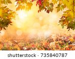 sunny autumn day with colorful...   Shutterstock . vector #735840787