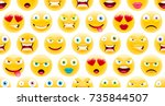 cute emoji pattern. abstract... | Shutterstock .eps vector #735844507