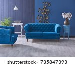 turquoise sofa classic living... | Shutterstock . vector #735847393