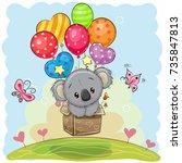 cute cartoon koala in the box... | Shutterstock .eps vector #735847813
