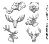 animal isolated sketch set of... | Shutterstock .eps vector #735848917