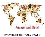 nut world map with seed and... | Shutterstock .eps vector #735849157