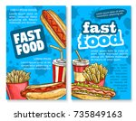 fast food lunch sketch poster... | Shutterstock .eps vector #735849163