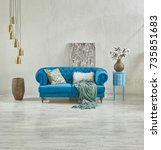 raw wall sofa decoration with... | Shutterstock . vector #735851683