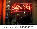 red and orange neon coffee shop ... | Shutterstock . vector #735853393