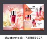 cosmetic magazine template ... | Shutterstock .eps vector #735859327